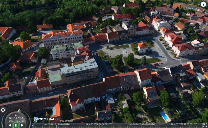 Vadstena as 3D Tiles in Cesium JS